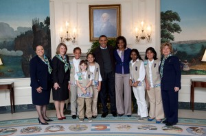 Girl Scouts Meet First Lady and President Obama