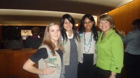 The author with fellow Girl Scouts and CEO Lidia Soto-Harmon at the State Department