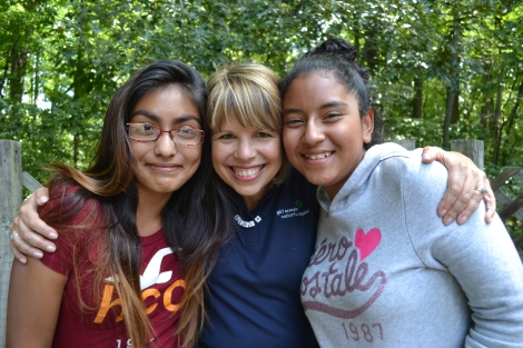 Lidia with girls at Encuentro
