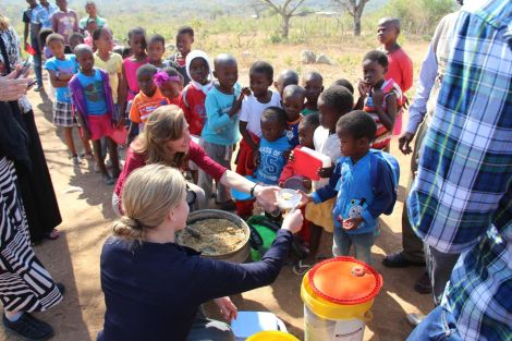 Feeding the children in the Swazi community